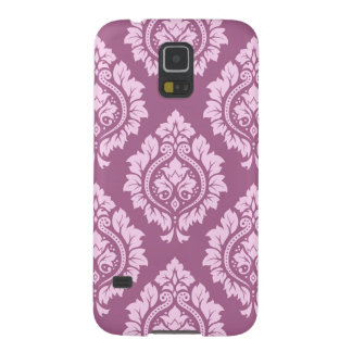 Decorative Damask Pattern – Pink on Plum Galaxy S5 Covers