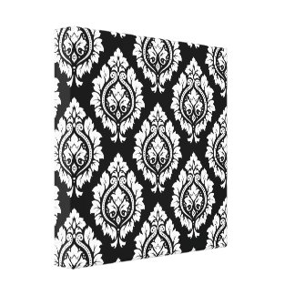 Decorative Damask Pattern – White on Black Canvas Print
