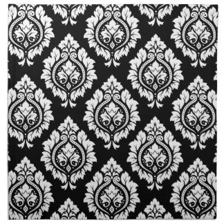 Decorative Damask Pattern – White on Black Napkin