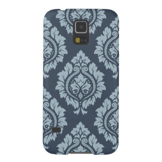 Decorative Damask Ptn - Light on Dark Blue-Grey Galaxy S5 Cases