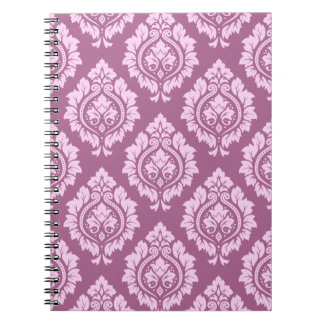 Decorative Damask Repeat Pattern – Pink on Plum Spiral Note Books