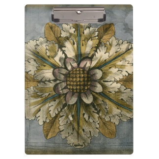 Decorative Demask Rosette on Grey Background Clipboards