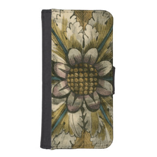 Decorative Demask Rosette on Grey Background iPhone SE/5/5s Wallet Case