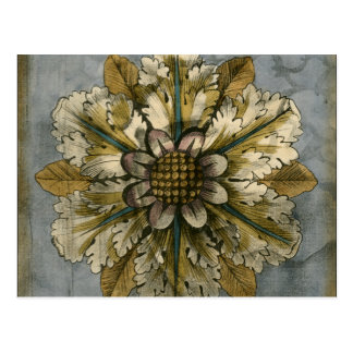 Decorative Demask Rosette on Grey Background Postcard