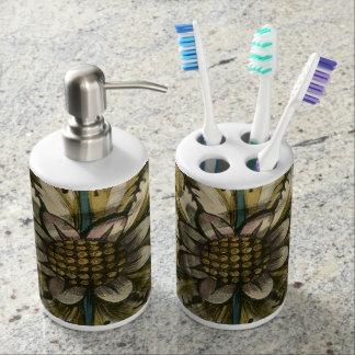 Decorative Demask Rosette on Grey Background Soap Dispenser