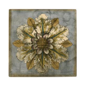 Decorative Demask Rosette on Grey Background Wood Coaster