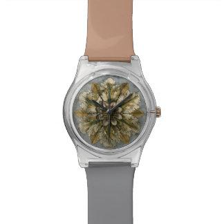 Decorative Demask Rosette on Grey Background Wrist Watches