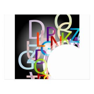 Decorative design element with colorful alphabets postcard