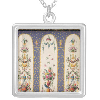 Decorative design for a garden arbour or loggia silver plated necklace