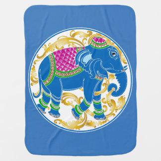 Decorative East Indian Blue Elephant Baby Blanket
