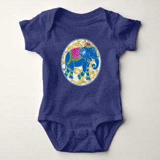 Decorative East Indian Blue Elephant Baby Bodysuit