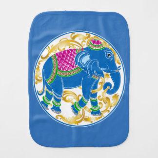 Decorative East Indian Blue Elephant Burp Cloth
