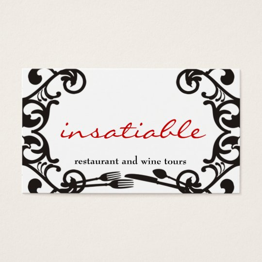 decorative eating utensils catering business card