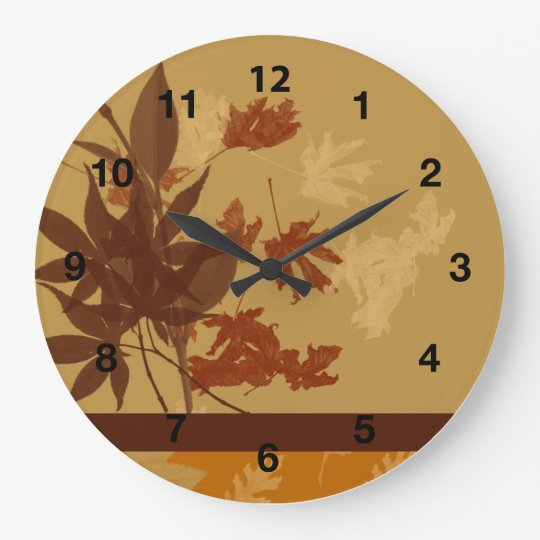 Decorative Fall Wall Clock Round, Black Numbers