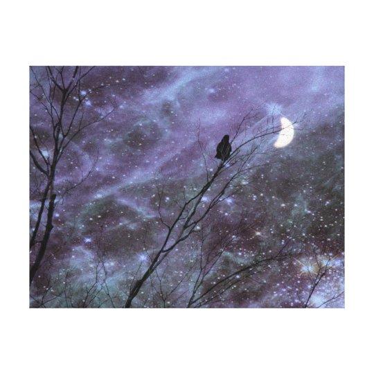 Decorative Fantasy Crow Art Canvas Print