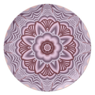 Decorative fantasy flower plate in pinks