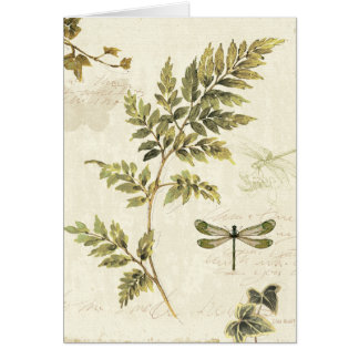 Decorative Ferns and a Dragonfly Card