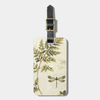 Decorative Ferns and a Dragonfly Luggage Tag