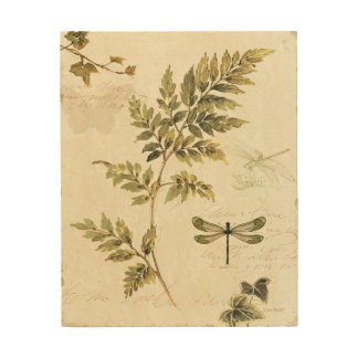 Decorative Ferns and a Dragonfly Wood Wall Art