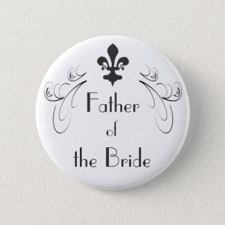 Decorative Fleur de Lis Father of the Bride Button