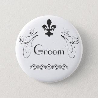 Decorative Fleur de Lis Groom Button