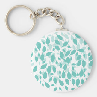 Decorative Floral Leaf Basic Round Button Key Ring