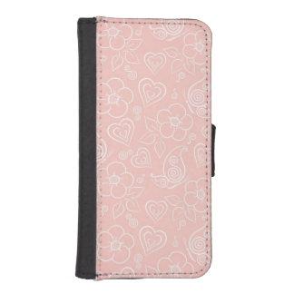 Decorative floral pattern iPhone SE/5/5s wallet case