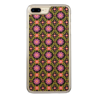Decorative Floral Pattern-Pink Flowers on Black Carved iPhone 8 Plus/7 Plus Case