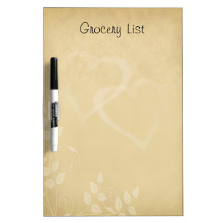 Decorative Floral Pattern with Heart Reminder List Dry Erase Board