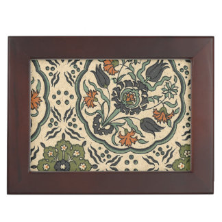 Decorative Floral Persian Tile Design Keepsake Box