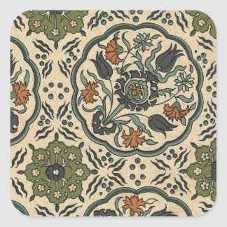 Decorative Floral Persian Tile Design Square Sticker