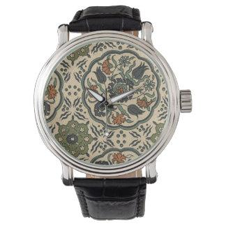 Decorative Floral Persian Tile Design Watch