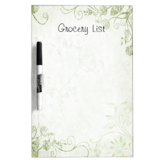 Decorative Floral Scrolls Grocery List Dry Erase Whiteboard