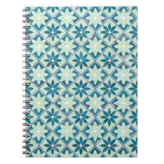 Decorative Floral Tiles Notebook - Aquamarine