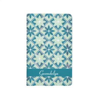 Decorative Floral Tiles Pocket Journal -Aquamarine