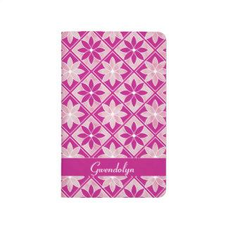Decorative Floral Tiles Pocket Journal - Purple