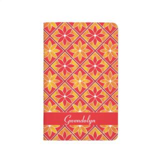 Decorative Floral Tiles Pocket Journal - Red