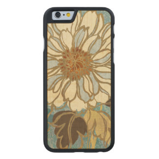 Decorative Florals in Blue and White Carved Maple iPhone 6 Case
