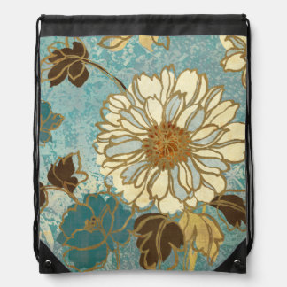 Decorative Florals in Blue and White Drawstring Bag