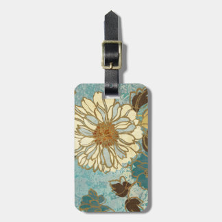 Decorative Florals in Blue and White Luggage Tag