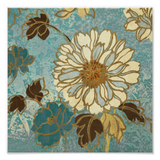 Decorative Florals in Blue and White Poster