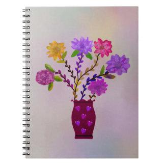 Decorative Flower Vase Spiral Notebook
