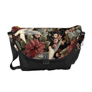 Decorative Flowers And Doves Messenger Bags
