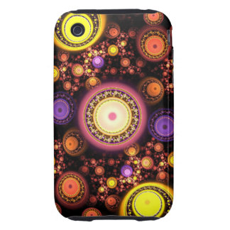 Decorative Fractal Circles Tough iPhone 3 Cover