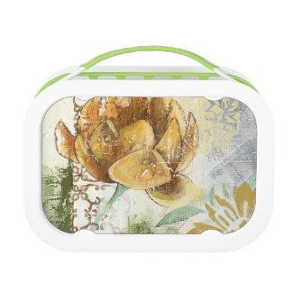 Decorative Fresco Design with Globe Flower Lunch Box