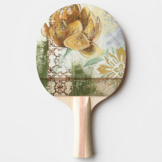 Decorative Fresco Design with Globe Flower Ping Pong Paddle