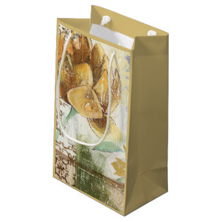 Decorative Fresco Design with Globe Flower Small Gift Bag