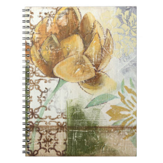 Decorative Fresco Design with Globe Flower Spiral Note Book