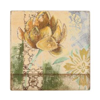 Decorative Fresco Design with Globe Flower Wood Coaster