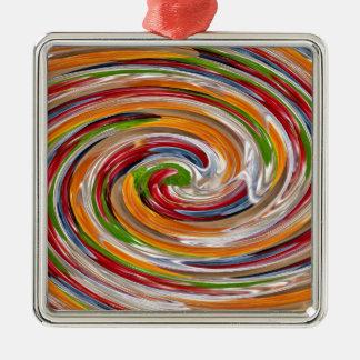 Decorative Fruity Twirl Wave Pattern Silver-Colored Square Decoration